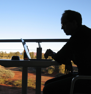 Alex working near Uluru